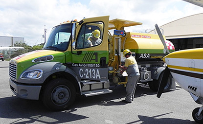 Mexican AVFuel truck fueling aircraft